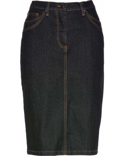 Джинсовая юбка со стразами черный Bonprix