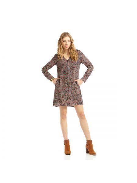 Платье мини на пуговицах с рисунком хаки из вискозы Charlise