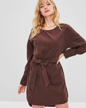 Платье с поясом вельветовое с карманами Zaful