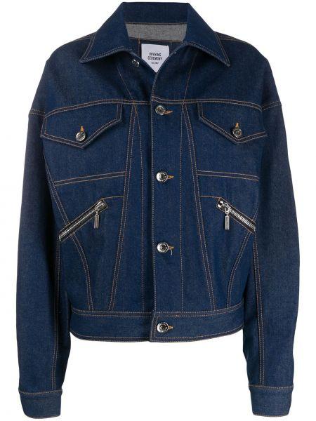 Хлопковая синяя джинсовая куртка с воротником на пуговицах Opening Ceremony