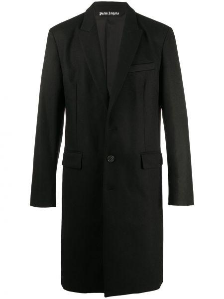 Czarny jednorzędowy wełniany płaszcz zapinane na guziki Palm Angels