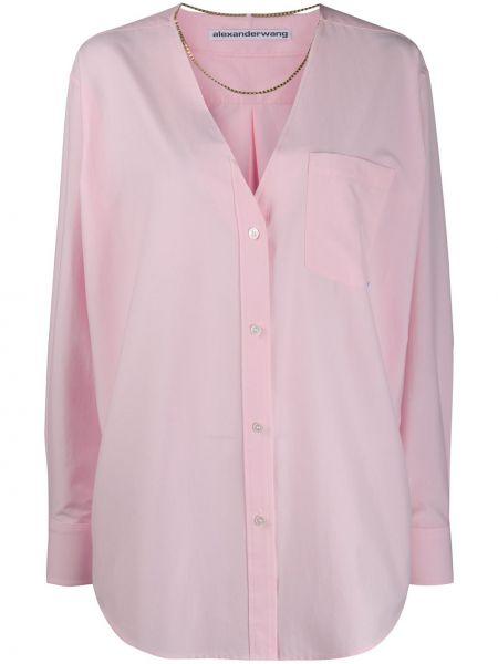 Różowa koszula z długimi rękawami z dekoltem w serek Alexander Wang