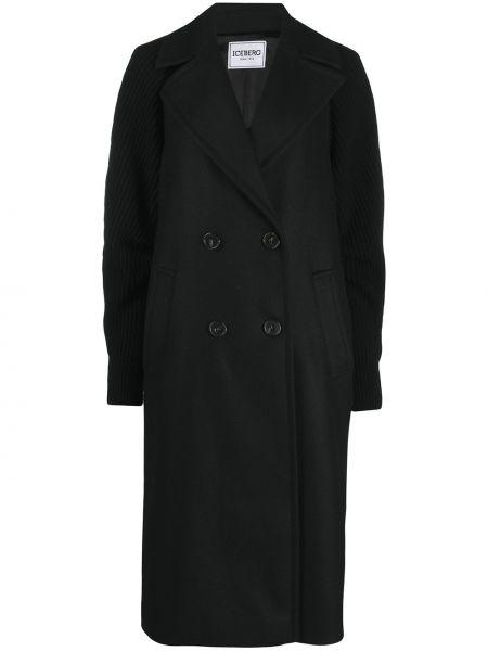 Черное длинное пальто со вставками в рубчик из вискозы Iceberg
