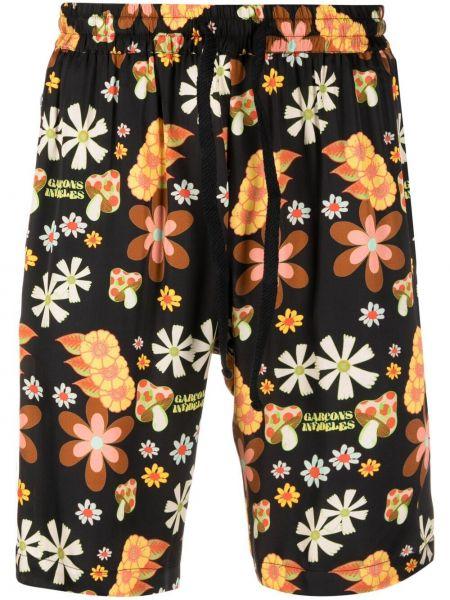 Czarne szorty w kwiaty z wiskozy Garçons Infideles