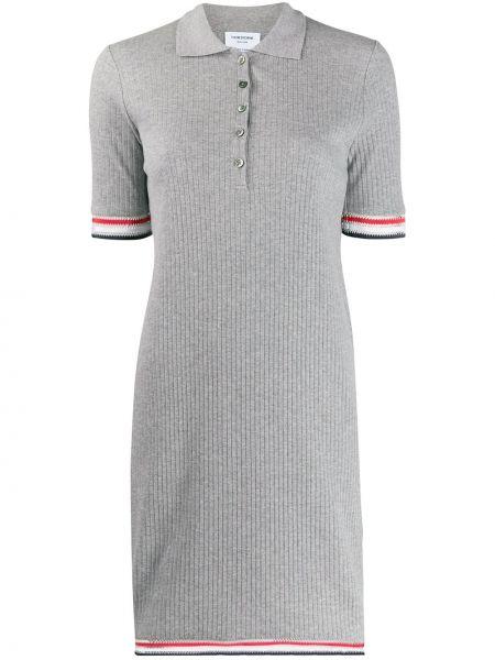 Klasyczna sukienka mini w paski krótki rękaw Thom Browne
