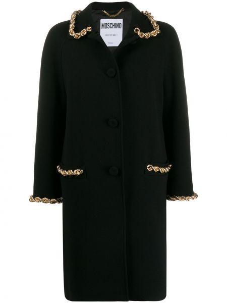 Шерстяное черное пальто классическое с капюшоном Moschino