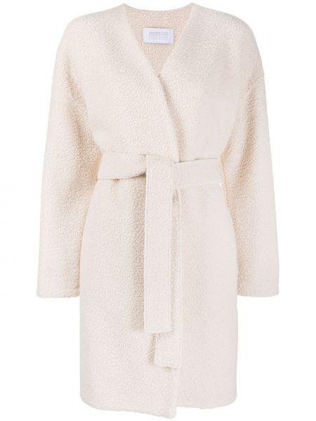 Белое шерстяное пальто с вырезом с завязками Harris Wharf London