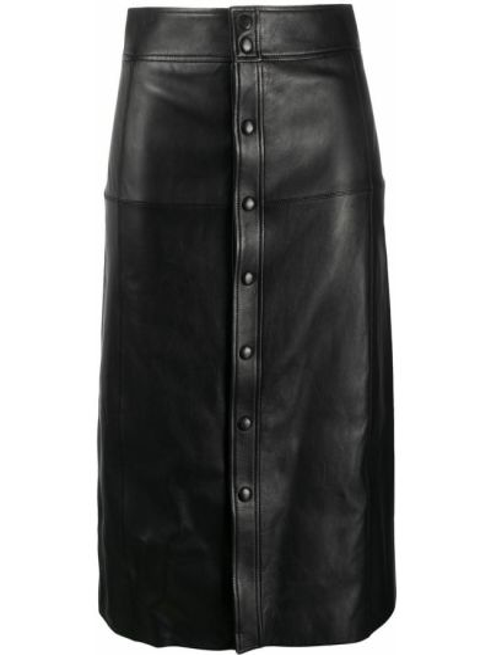Черная с завышенной талией кожаная юбка миди Saint Laurent