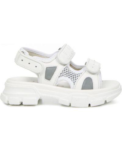 Szare sandały skorzane na rzepy Gucci
