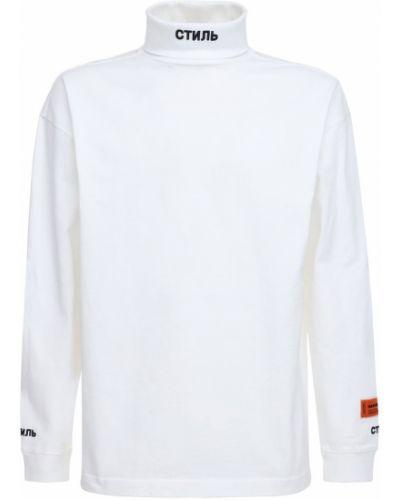 Biały bawełna bawełna koszula z kołnierzem Heron Preston
