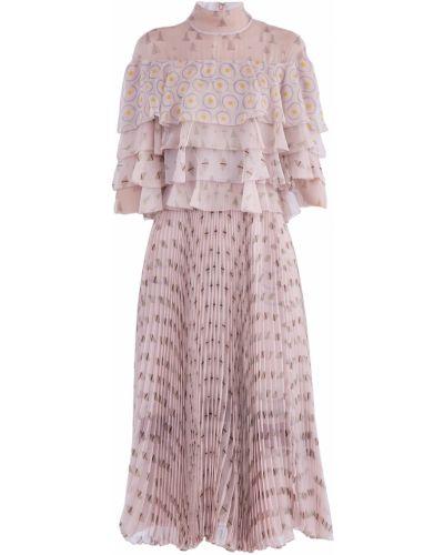 Платье миди с оборками с воротником-стойкой Valentino