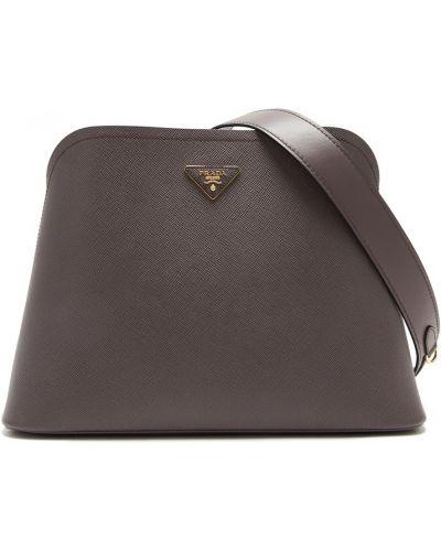 С ремешком серая сумка среднего размера из натуральной кожи Prada