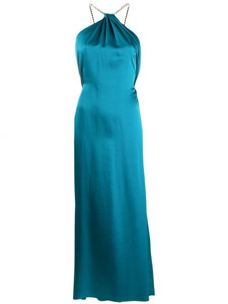 Открытое платье макси с открытой спиной без рукавов металлическое Amen.