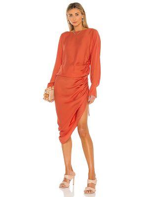 Красное платье миди для полных с оборками L'academie