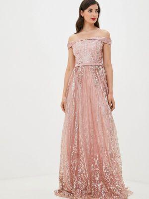 Розовое вечернее платье осеннее Soky & Soka