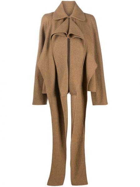 Шерстяное пальто - коричневое Lemaire