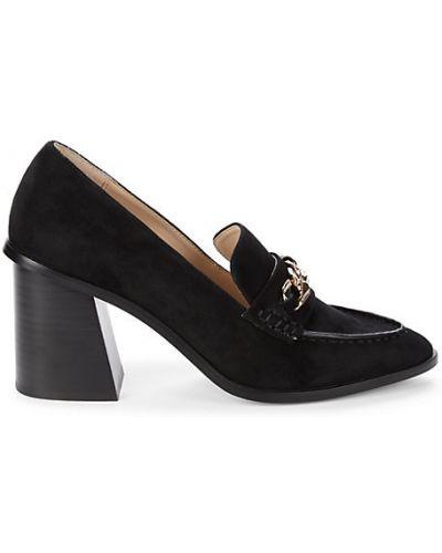 Черные замшевые лоферы на каблуке Saks Fifth Avenue