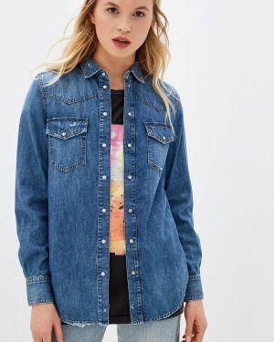 Джинсовая рубашка с длинным рукавом синяя Diesel