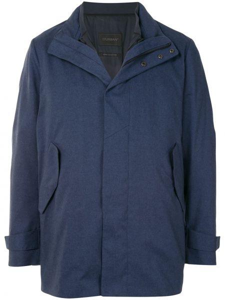 С рукавами прямая синяя облегченная длинная куртка D'urban