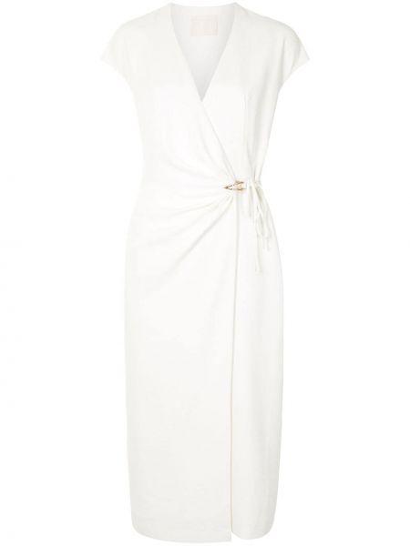 С рукавами белое платье миди с запахом Dion Lee