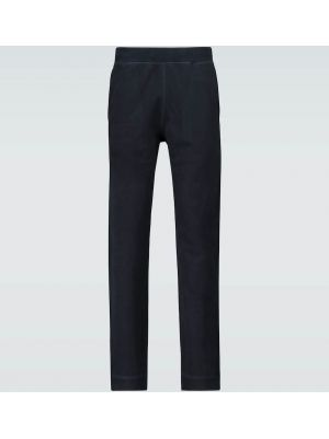 Хлопковые черные спортивные брюки с завязками с манжетами Sunspel
