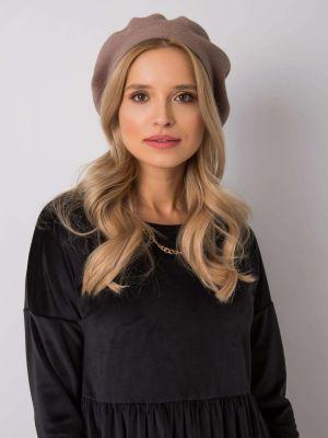 Beżowy beret materiałowy Fashionhunters