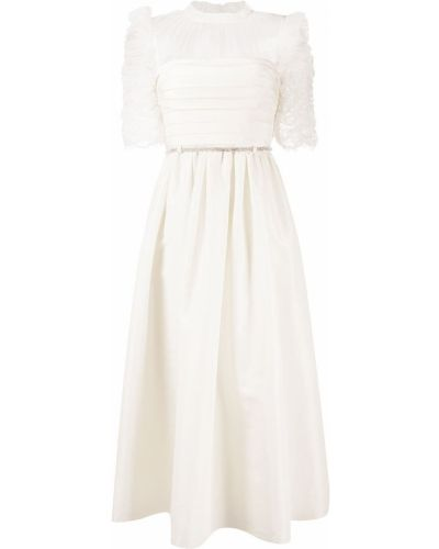 Белое платье миди с вырезом с оборками Self-portrait