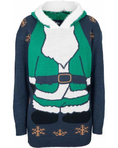 Черный пуловер с капюшоном Bonprix