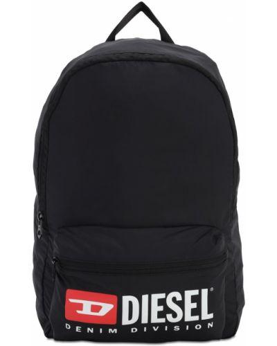 Czarny plecak z nylonu z printem Diesel Kids