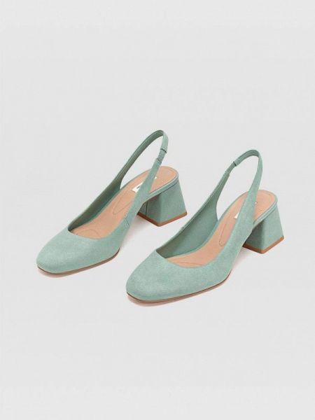 Туфли зеленый с открытой пяткой Stradivarius