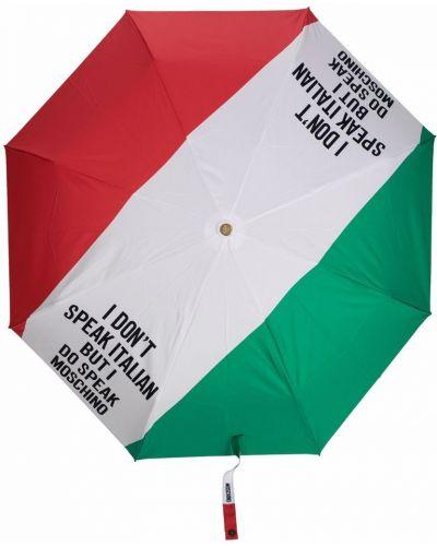Biały parasol z printem srebrny Moschino