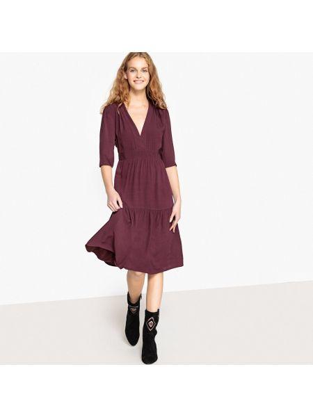 Расклешенное бордовое платье миди на молнии из вискозы See U Soon