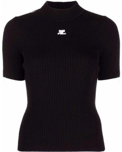 Czarna t-shirt z wiskozy Courreges