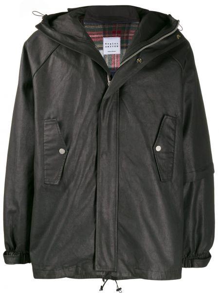 Czarna kurtka z kapturem bawełniana Raglan United
