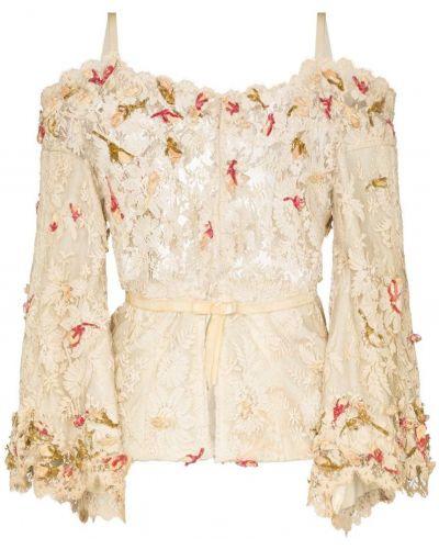 Блузка с длинным рукавом винтажная с вышивкой с поясом One Vintage