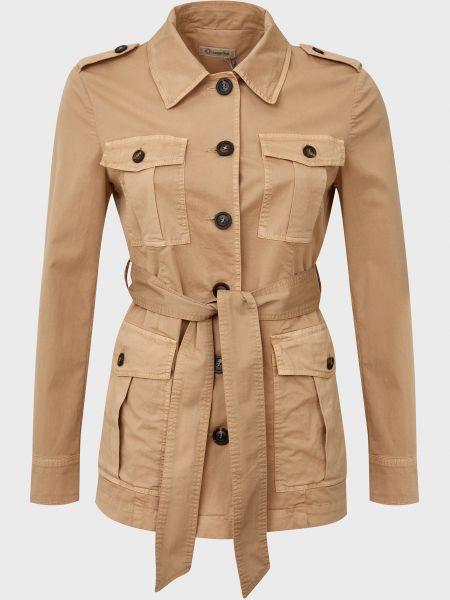 Хлопковая бежевая куртка с поясом Cappellini