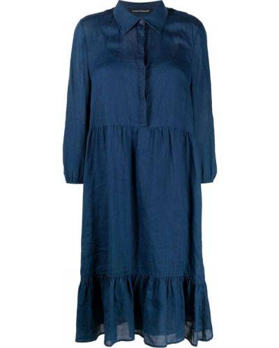 Синее платье миди с воротником на пуговицах Luisa Cerano