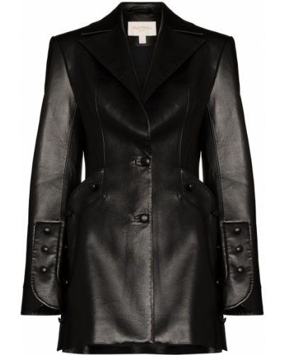 Однобортный черный кожаный удлиненный пиджак Matériel