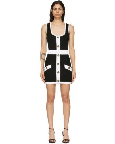 Czarny sukienka mini z wiskozy z kołnierzem Balmain