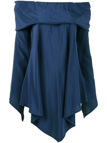 Блузка с открытыми плечами шелковая асимметричная Sies Marjan