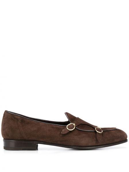 Кожаные темно-коричневые лоферы с пряжкой на каблуке Lidfort