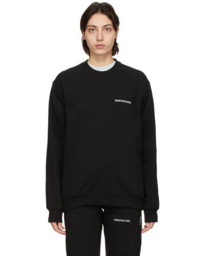 Czarna bluza z haftem z długimi rękawami Saintwoods