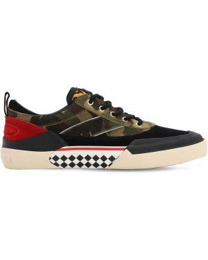 Złote czarne sneakersy sznurowane Stratica International
