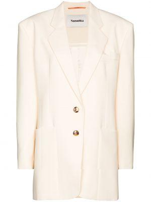 Бежевый однобортный кожаный удлиненный пиджак Nanushka