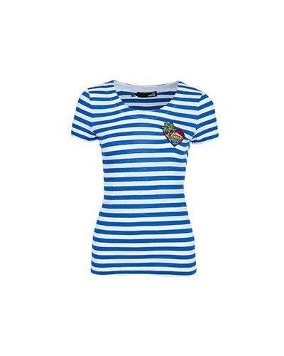 Синяя футболка из вискозы Moschino Love