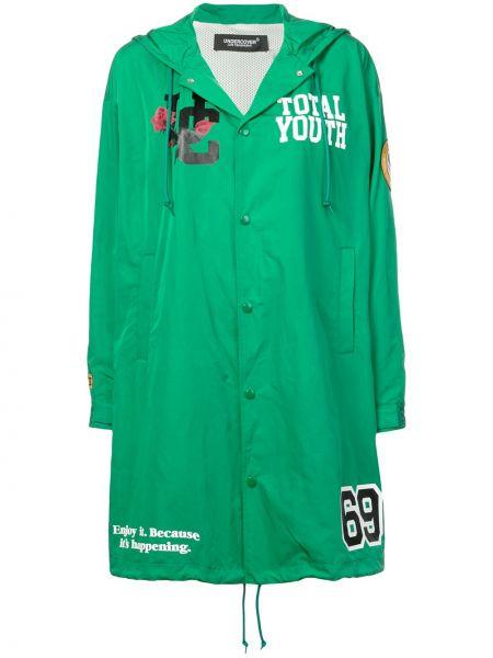 Зеленое пальто с капюшоном на пуговицах Undercover