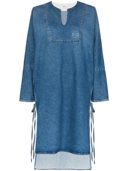 Платье миди джинсовое с V-образным вырезом Loewe