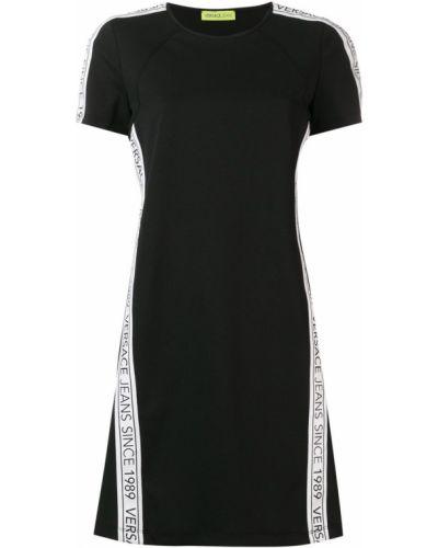 Черное футбольное платье мини Versace Jeans