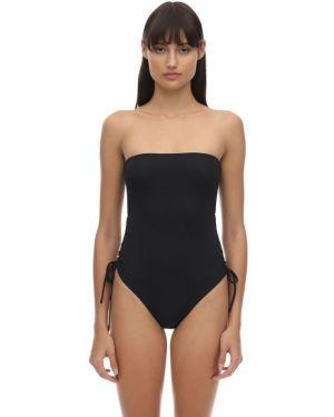 Czarny strój kąpielowy bezszwowy sznurowany Aexae