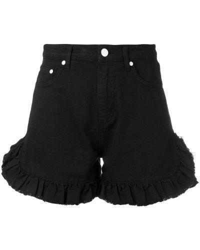 Джинсовые шорты с оборками черные Msgm